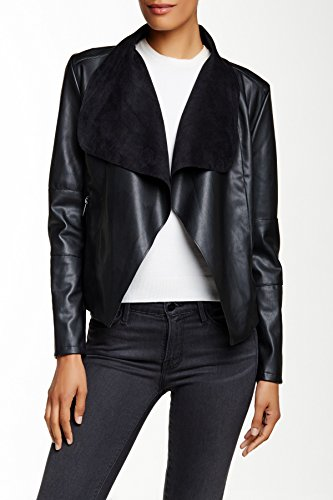 Bagatelle-Womens-Long-Sleeve-Faux-Leather-Draped-Jacket
