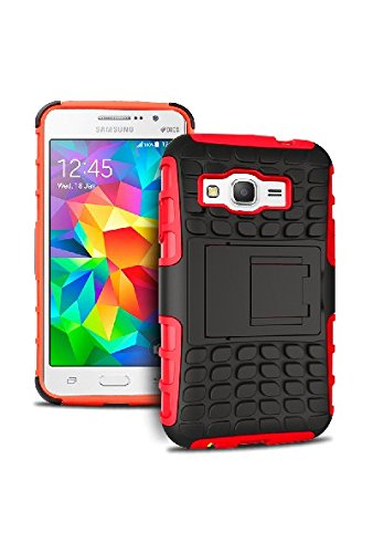 HHI Dual Armor Composite Case with Stand for for Samsung Galaxy Grand Prime - Red (Package include a HandHelditems Sketch Stylus Pen)