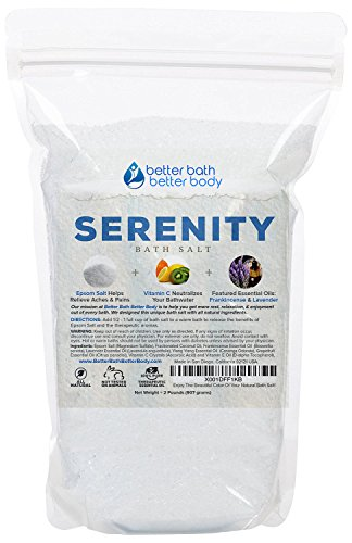 Serenity Bath Salt 32 Ounces Epsom Salt with Ylang Ylang, Grapefruit, Lavender and Frankincense Essential Oils Plus Vitamin C and All Natural Ingredients