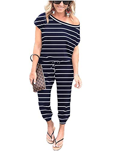ANRABESS Women's Jumpsuits - Striped Crewneck One Off Shoulder Short Sleeve Elastic Waist Romper Playsuits with Pockets CXJzangbai-M WFF04