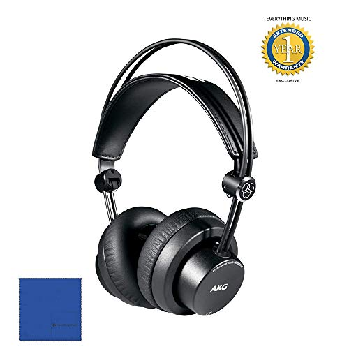 AKG K175 Closed-back Foldable Headphones with Microfiber and 1 Year Everything Music Extended Warranty