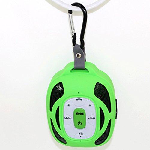 - PIXNOR Portable Speaker Waterproof Mini Stereo Speaker Solar Powered (Green)