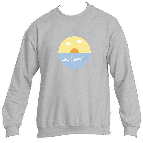 Lake Champlain Lake Sunset - Vermont Men's Crewneck Sweatshirt (Small, Ash)