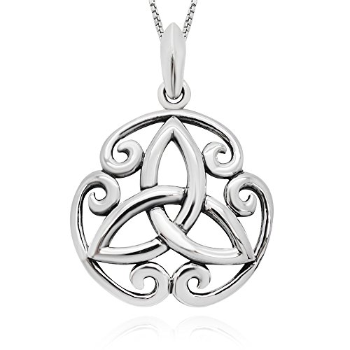 925 Sterling Silver Celtic Trinity Knot Round Pendant Necklace 18