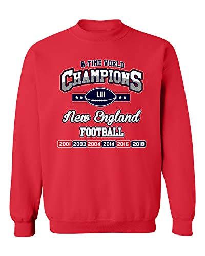 New World Champion 6-Time New England Football DT Crewneck Sweatshirt (XX Large, Red)