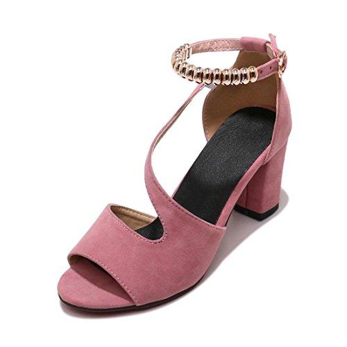 Sandalias Mujer/Sandalia con Pulsera para Mujer/Señor Boca de Pescado Zapatos de Tacón Alto de Satén Sandalias Mujeres Grandes Astilleros Pink