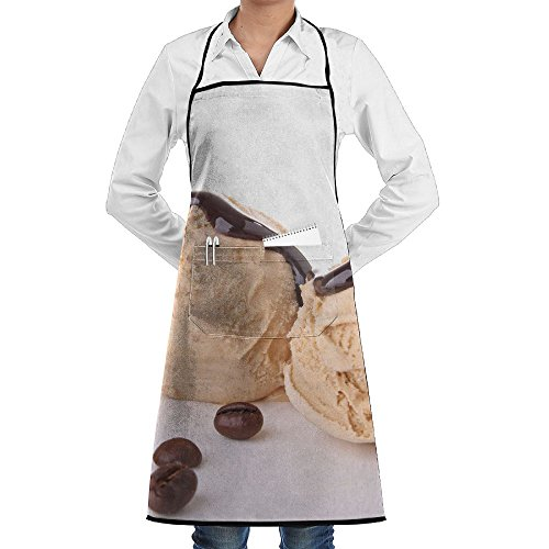 SmallTing Scoop Of Ice Cream Chef Restaurant Black One Size Apron With Pockets Adjustable