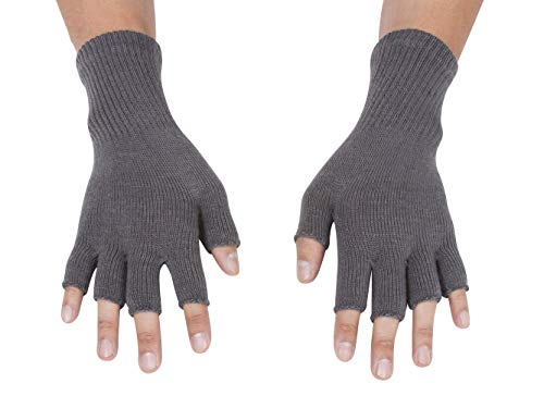 Gravity Threads Unisex Warm Half Finger Stretchy Knit Gloves, Grey
