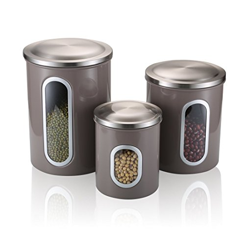(Kitchen Canister, Stainless Steel Canisters Sets with Fingerprint Resistance Lid, Set of 3 (Warm Grey))