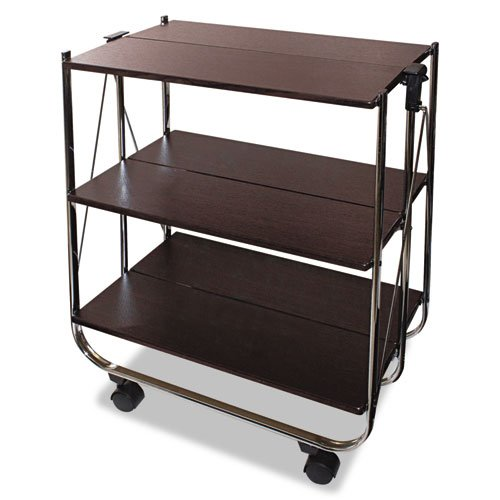 Vertiflex VF51022 Click-N-Fold Utility Cart, 26 1/2w x 15 3/4d x 31 1/2h, Chrome/Brown