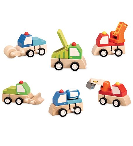 Magic Cabin Set of 6 Wooden Wind-Up Toy Trucks - Bulldozer, Cement Truck, Crane, Roller, Recycling Truck, Fire Truck - Approx. 2.75'' H