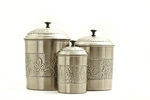 Set 3 Antique Embossed Pewter Canisters 5.5Qt/4Qt/3Qt Steel with a Rich Antique Pewter Finish