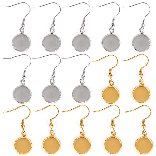 LANBEIDE Earring Wire Hooks for 12mm Cabochon Settings, 20 Pack Stainless Steel Bezel Blanks for Jewelry Making(Gold and Silver)