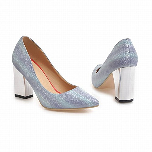 Mee Shoes Women's Charm Block Heel Pointed Toe Slip On Court Shoes Color 2 GB4OiKH