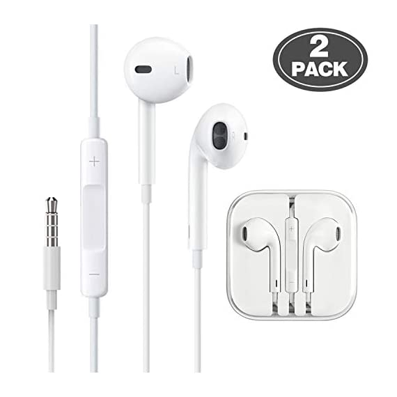 - 41FlAKruepL - (2 Pack) Aux Headphones/Earphones/Earbuds 3.5mm Wired Headphones Noise Isolating Earphones with Built-in Microphone & Volume Control Compatible with iPhone 6 SE 5S 4 iPod iPad Samsung/Android MP3