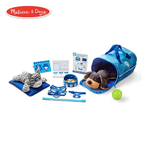 Melissa & Doug Tote & Tour Pet Travel Play Set (2 Plush Stuffed Animals, 15 Pieces, 10.5