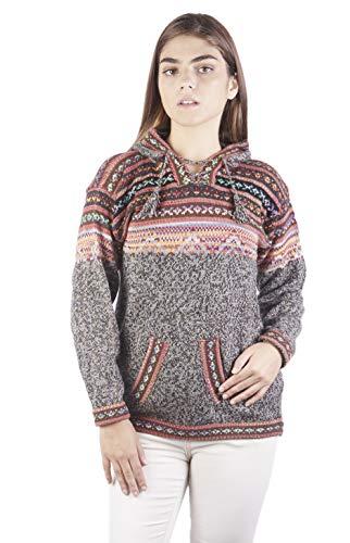Raymis Alpaca Wool Women´s Hand Knit Peruvian Cusco Hoodie (Beaver, Small)