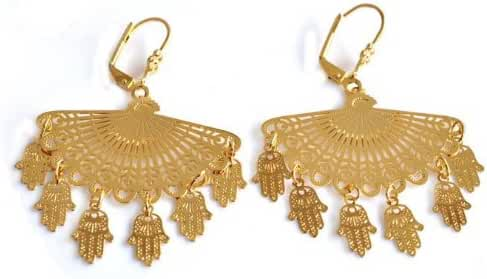Beautiful Big Hamsa Evil Eye Protection Gold Earrings