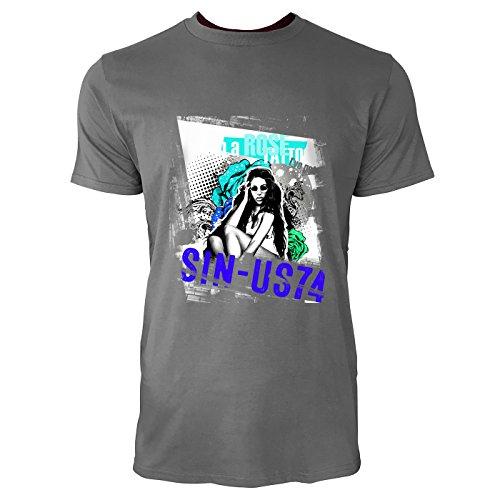 SINUS ART® Frau mit Sonnenbrille und Pop Art Hintergrund Herren T-Shirts in Grau Charocoal Fun Shirt mit tollen Aufdruck