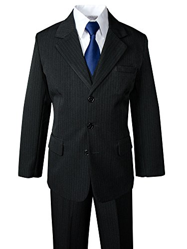 Spring Notion Big Boys' Pinstripe Suit Set Black-Navy 14 (Navy Tie Suit Pinstripe)
