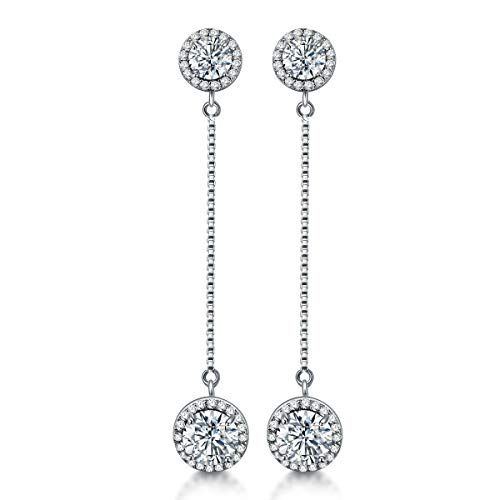 Silver Crystal Dangle Earrings - Womens Round Diamond Long Chain Linear Earrings cz Bridal Drop Earrings for Wedding Bride Bridesmaids by AMYJANE