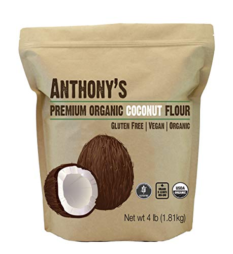 Anthony's Organic Coconut Flour (4lb), Batch Tested Gluten-Free, Non-GMO & Vegan (Wheat Flour No)