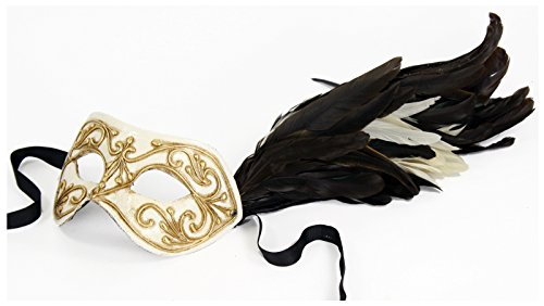 Authentic Italian Made Venetian Columbina Mask with Feathers (Black/White/Gold) by Largemouth