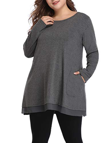 Women Plus Size Tunic Shirt Casual Lace Top for Legging with Pockets (Grey, 4X) -