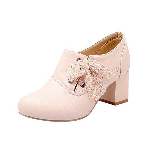 Carolbar Womens Plus Size Sweet Lace Leuke Mode Lace-up Mid Hak Oxfords Schoenen Roze