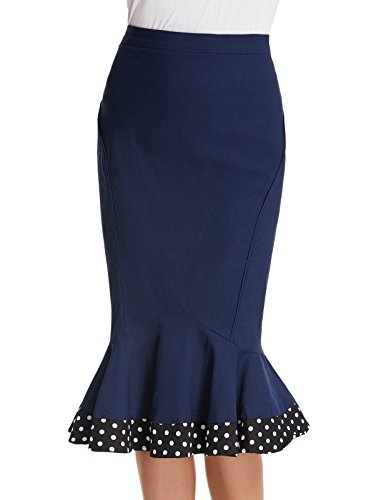 Tail Blue Skirt - Lady Voguish Stretchy High Waist Polka Fishtail Bodycon Skirts Navy Blue Size L