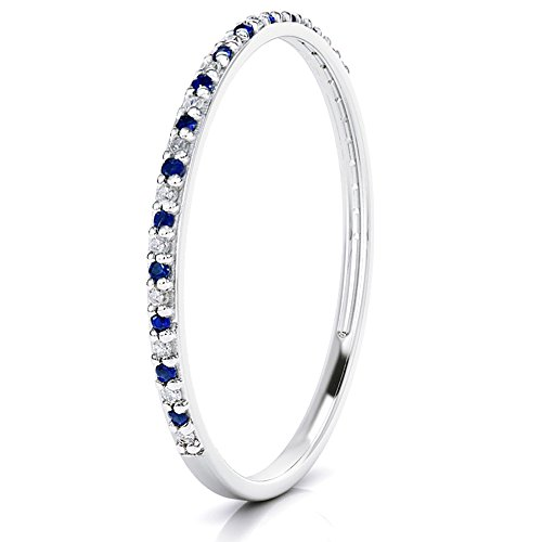 Buy Jewels 14k Gold Dainty Half Band Natural Diamond and Blue Sapphire Wedding Anniversary Ring (white-gold, 6) (Gold Diamond Stack Ring)