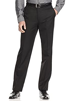 Calvin Klein Men`s Regular Fit Trousers Black Flat Front Dress Pants