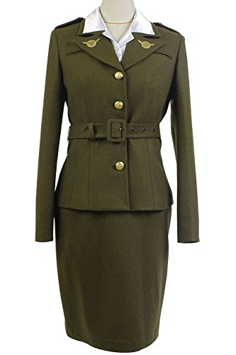 Sidnor Women's Officer Margaret/Peggy Carter Dress Cosplay Costume Uniform Suit (Green, (Custom Made Captain America Costume)