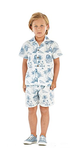 Hawaii Hangover Boy Aloha Luau Shirt Cabana Set in Vintage Tropical Toile 8 Year Old