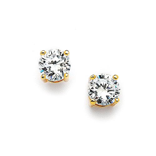 Mariell 2 Ct. Cubic Zirconia Stud Earrings -14K Gold Plated 8mm Round Cut CZ Simulated Diamond Studs (Gold Crystal Earrings Studs)