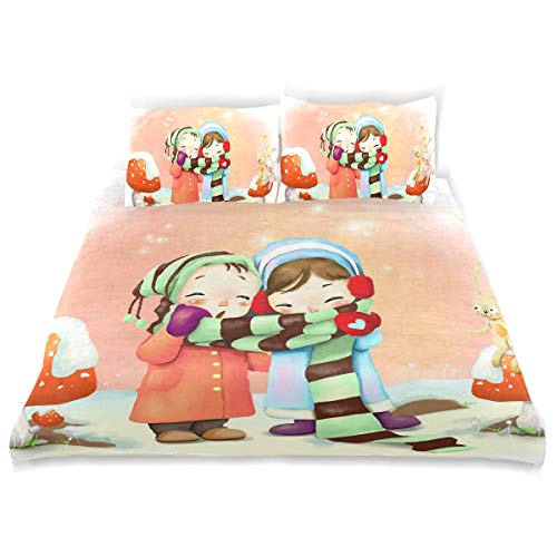 - Valentine's Day Couple Wallpaper Duvet Cover Set Soft Microfiber Cotton 1 Duvet Cover 2 Pillow Shams 3 Piece Bedding Quilt Sets for Kids Girls Boys Twin (66