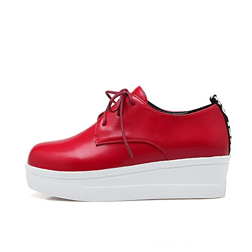 punta Rojo zapatos plataforma cordones BalaMasa uretano planos de nbsp;zapatos con redonda nbsp;– R0q0P6xI