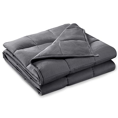 """BUZIO Weighted Blanket for Adults (18 lbs for 150-190 lbs Persons),Perfect for Relaxation, Fall Asleep Faster and Better,Idea as a Gift(60"""" x 80"""",Dark Grey)"""
