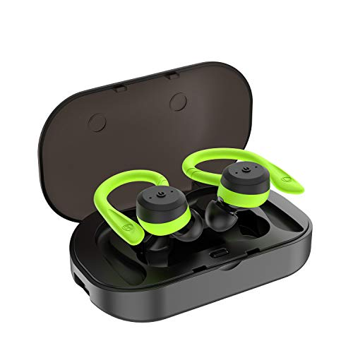 True Wireless Earbuds,TWS Earbuds Bluetooth 5.0 Headphones IPX7 Waterproof 3D Stereo Sound 12H Playtime with 650mAH Charging Case Wireless Earphones Noise Cancelling for iPhone and Android(Green)