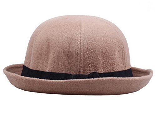 COMVIP Wool Watermelon Cloche Cap Women Bowler Derby Hat Camel (Camel Riding Costume)
