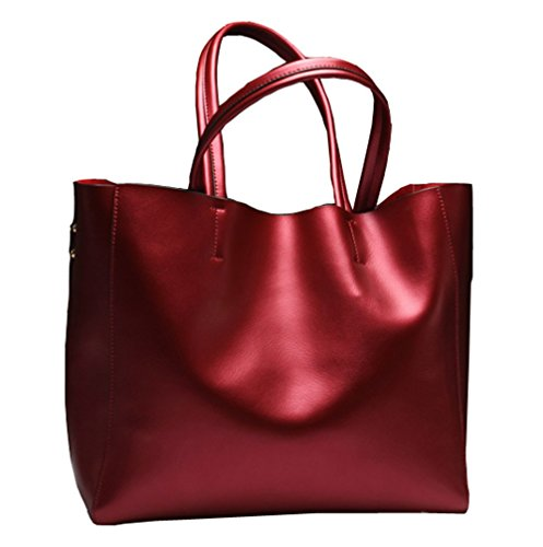 Covelin Women's Handbag Genuine Soft Leather Tote Shoulder Bag Hot Wine red