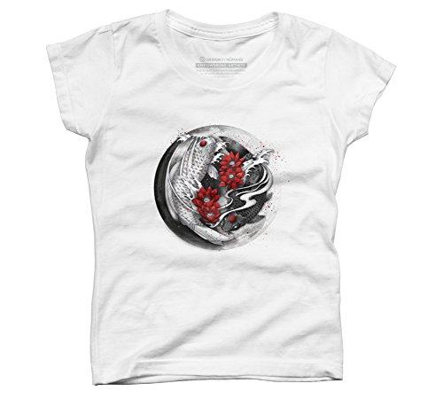 Design By Humans Balance [Yin-yang koi] Girl's Large White Youth Graphic T Shirt ()