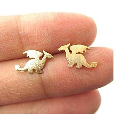 Frodete Silver Color Golden Dinosaur Stud Earrings Fashion Mini Stud Earring for Girls Minimalist Jewelry