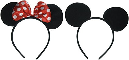 MEKBOK Mickey Minnie Mouse Ears Headbands (Set of 2), Black]()