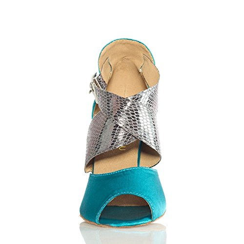 Taogo TH013 Wrap Latin Sandals Ballroom Blue Wedding Ankle Minitoo Dance Satin Women's 1AfqSwx8