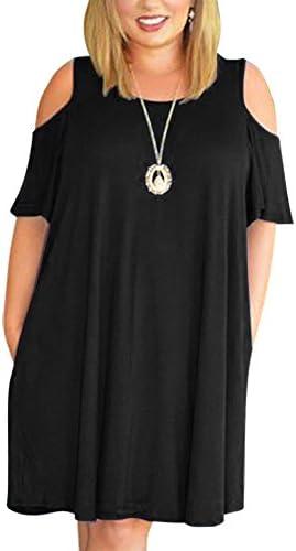Nemidor Women's Cold Shoulder Plus Size Casual T-Shirt Swing Dress with Pockets