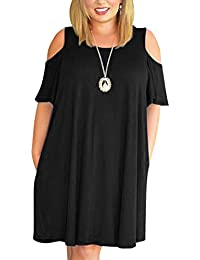 Women's Cold Shoulder Plus Size Casual T-Shirt Swing...