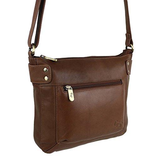 In pelle morbida da donna, borsetta, borsa a tracolla Classic GiGi medio, colore: marrone