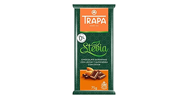 Amazon.com : Trapa 8410679030062 Stevia Milk Chocolate Bar Assortment Plain & Almonds : Grocery & Gourmet Food
