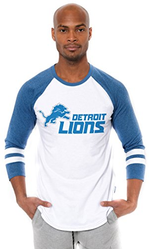 Icer Brands NFL Detroit Lions Men's T-Shirt Raglan Baseball 3/4 Long Sleeve Tee Shirt, Large, White